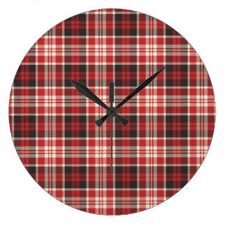 Relógio Grande Teste padrão vermelho e preto da xadrez
