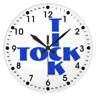 Relógio Grande Texto azul de Tock do tiquetaque das palavras