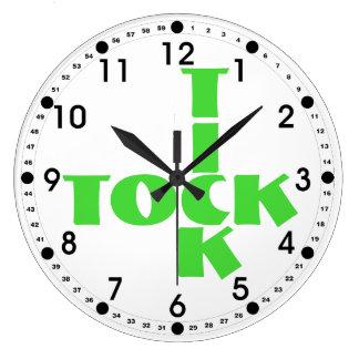 Relógio Grande Texto verde de Tock do tiquetaque das palavras