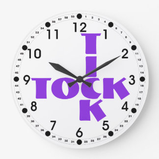 Relógio Grande Texto violeta de Tock do tiquetaque das palavras