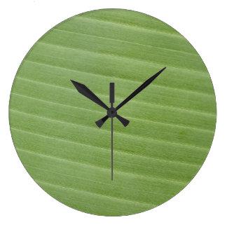 Relógio Grande Textura da folha da banana