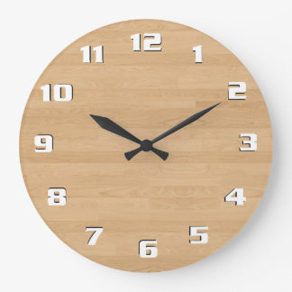 Relógio Grande Textura de madeira clara moderna limpa lustrosa