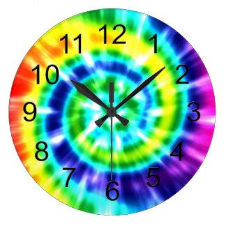 Relógio Grande Tintura retro Boho colorido do laço da paz do