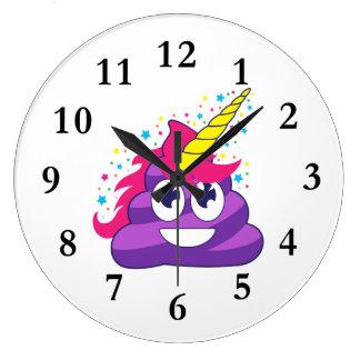Relógio Grande Tombadilho roxo do unicórnio de Emoji