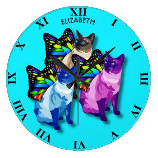 Relógio Grande Três gatos psicadélicos com asas da borboleta