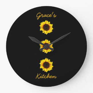 Relógio Grande Três girassóis ensolarados para a cozinha da
