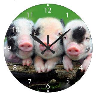 Relógio Grande Três porcos pequenos - porco bonito - três porcos