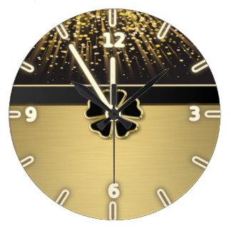 Relógio Grande Trevo irlandês elegante elegante, confete do ouro