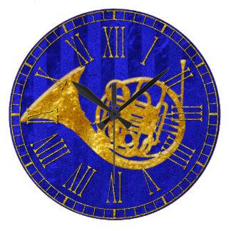 Relógio Grande Trompa francesa de vidro do ouro do olhar