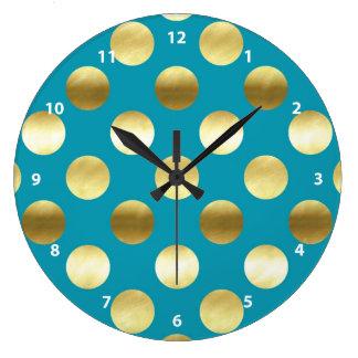 Relógio Grande Turquesa chique das bolinhas da folha de ouro