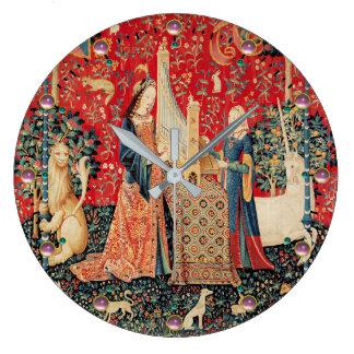 Relógio Grande UNICÓRNIO, floral vermelho da SENHORA PLAYING
