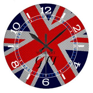 Relógio Grande Union Jack vibrante personalizado no estilo do