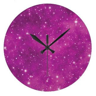 Relógio Grande Universo cor-de-rosa e roxo da arte abstracta