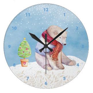 Relógio Grande Urso polar e árvore de Natal na neve