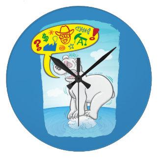 Relógio Grande Urso polar que diz as palavras más que estão no