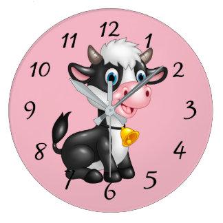 Relógio Grande Vaca bonito dos desenhos animados
