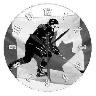 Relógio Grande Vara que segura o jogador de hóquei em gelo e a