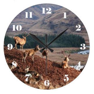 Relógio Grande Veado vermelho no vale Etive, montanhas de