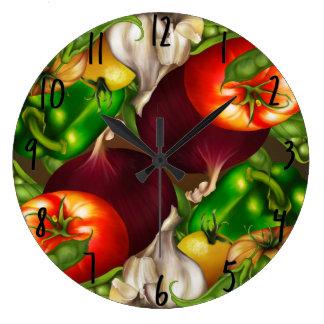 Relógio Grande Vegetais e alimentos frescos naturais orgânicos