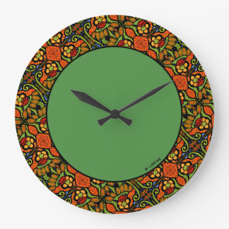 Relógio Grande Verde colorido das flores das bolinhas do teste