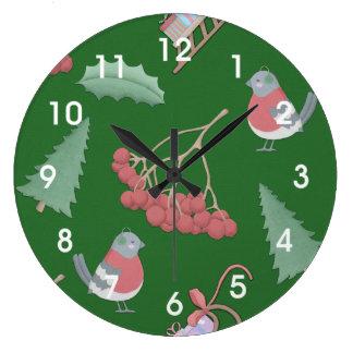 Relógio Grande Verde dos pássaros e dos trenós do Natal
