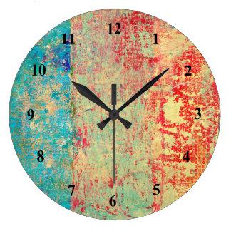 Relógio Grande Verde vermelho de turquesa da pintura da textura