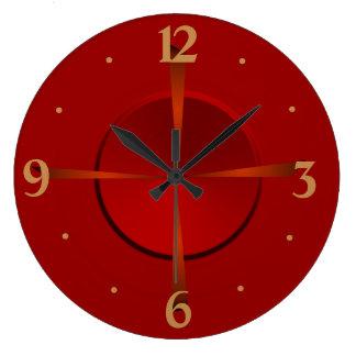 Relógio Grande Vermelho atmosférico e pulso de disparo de parede