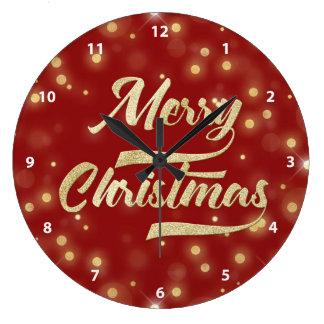 Relógio Grande Vermelho do ouro de Bokeh do brilho do Feliz Natal