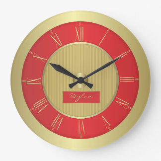 Relógio Grande Vermelho e ouro