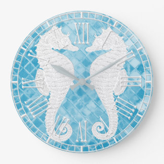Relógio Grande Vidro azul do mar dos cavalos marinhos brancos