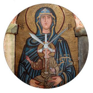 Relógio Grande Virgem Maria e mosaico de Jesus