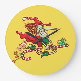 Relógio Grande Vôo da bruxa do Dia das Bruxas em um bastão de