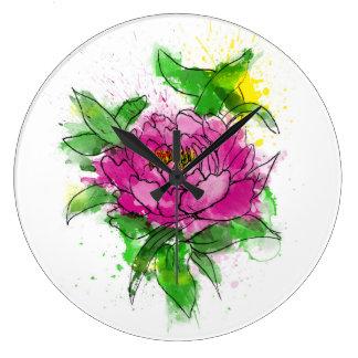 Relógio Grande Watercolour cor-de-rosa da peônia