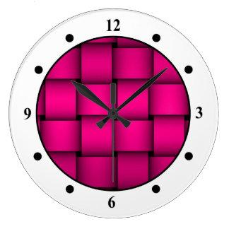 Relógio Grande Xadrez cor-de-rosa de Cherise