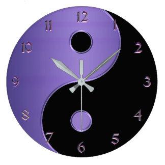 Relógio Grande Yin Yang na lavanda roxa e preta