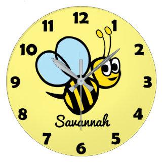 Relógio Grande Zangão bonito personalizado do amarelo da abelha
