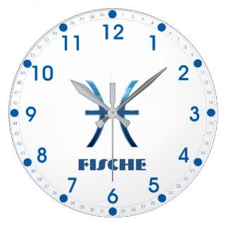Relógio Grande Zodíaco dos peixes de Blau Fische