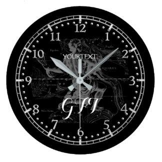 Relógio Grande Zodíaco personalizado da constelação do Aquário do