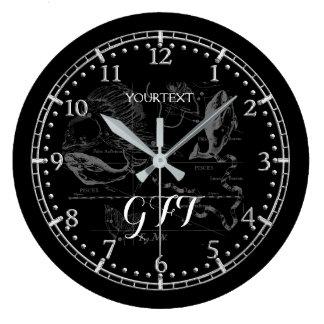 Relógio Grande Zodíaco personalizado da constelação dos peixes do