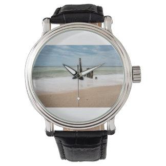 Relógio Groynes na costa do mar Báltico