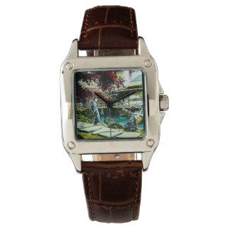 Relógio Gueixa do vintage na árvore de bordo da casa de
