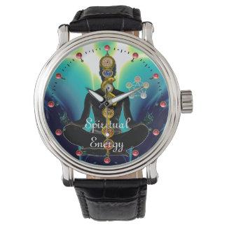 Relógio HASTE de ASCLEPIUS 7 CHAKRAS, azul da POSE de