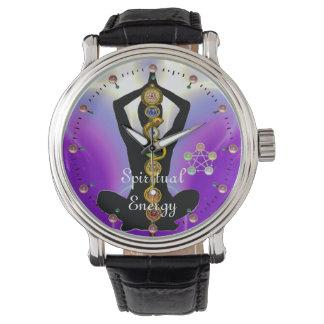 Relógio HASTE de ASCLEPIUS 7 CHAKRAS, roxo da POSE de