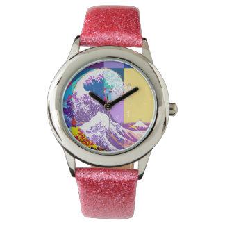 Relógio Hokusai encontra Fibonacci, estilo do pop art