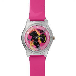 Relógio Ícone da silhueta da mulher maravilha da liga de
