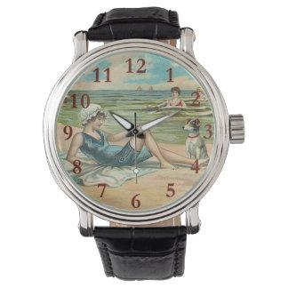 Relógio Ilustração antiga Beachy do litoral