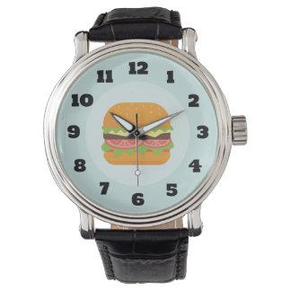 Relógio Ilustração do Hamburger com tomate e alface