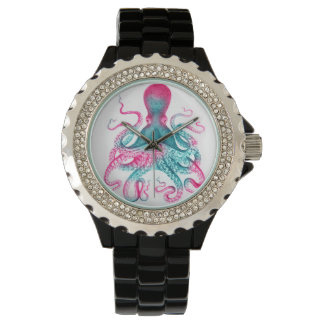 Relógio Ilustração do polvo - vintage - kraken