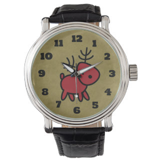Relógio Ilustração vermelha da rena do Natal