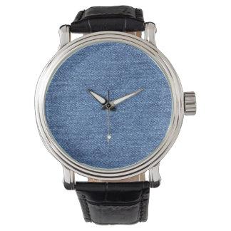 Relógio Imagem branca azul do olhar da textura da sarja de